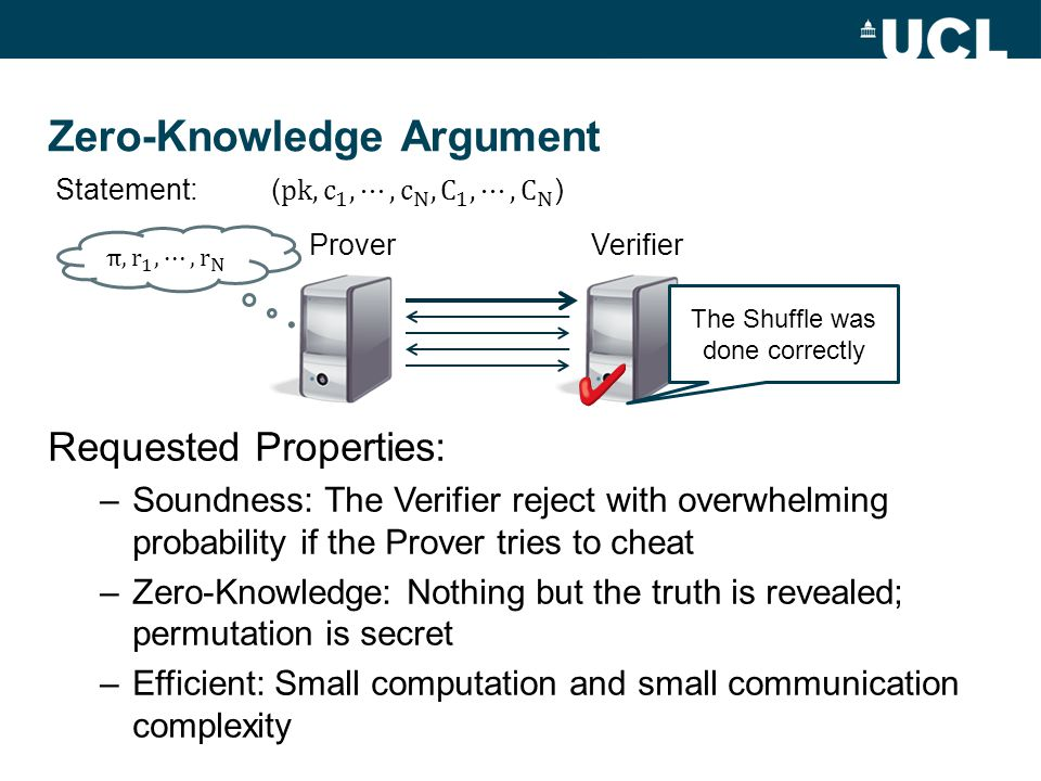 Zero-Knowledge Argument Requested Properties: –Soundness: The Verifier reject with overwhelming probability if the Prover tries to cheat –Zero-Knowledge: Nothing but the truth is revealed; permutation is secret –Efficient: Small computation and small communication complexity ProverVerifier The Shuffle was done correctly