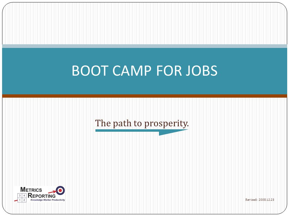 The path to prosperity. BOOT CAMP FOR JOBS Revised: 2008.12.23