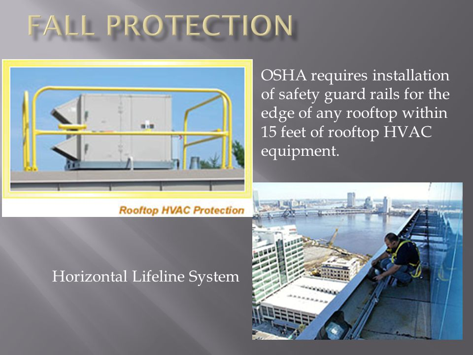 OSHA requires installation of safety guard rails for the edge of any rooftop within 15 feet of rooftop HVAC equipment.