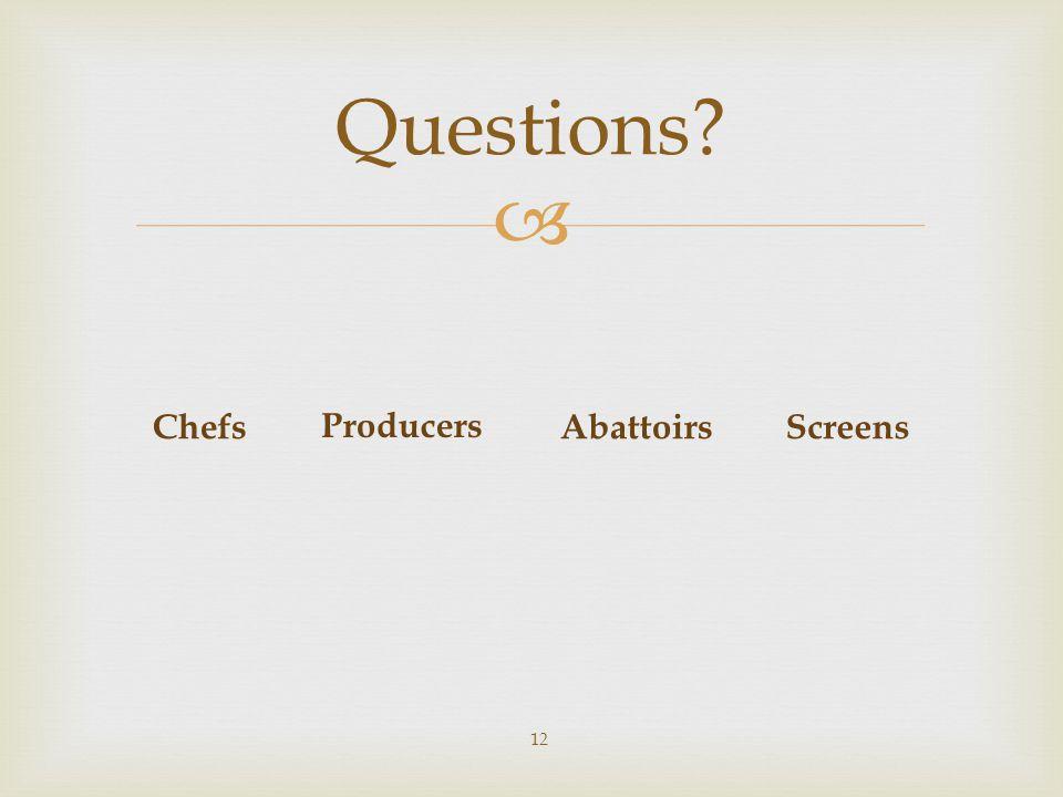  Questions? 12 Producers ChefsAbattoirsScreens