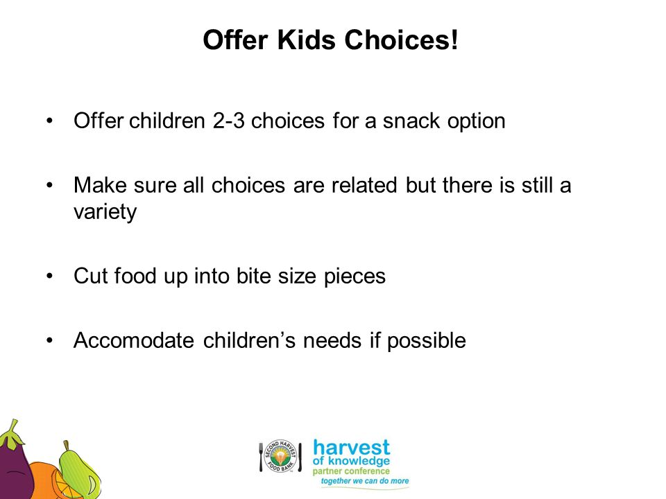 Offer children 2-3 choices for a snack option Make sure all choices are related but there is still a variety Cut food up into bite size pieces Accomod