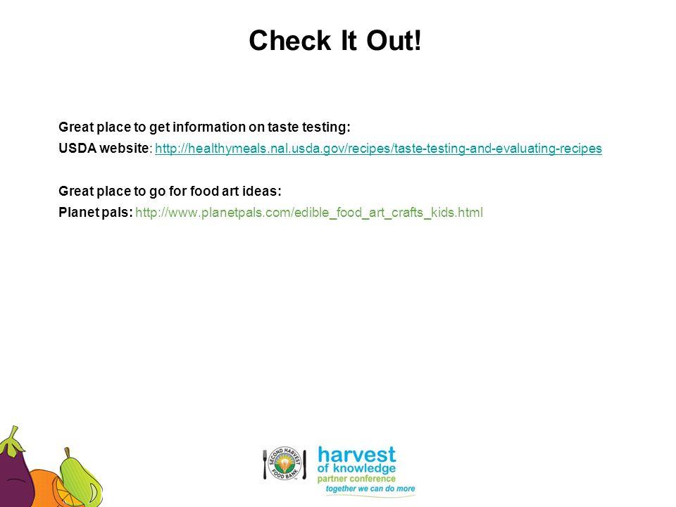 Great place to get information on taste testing: USDA website: http://healthymeals.nal.usda.gov/recipes/taste-testing-and-evaluating-recipeshttp://hea