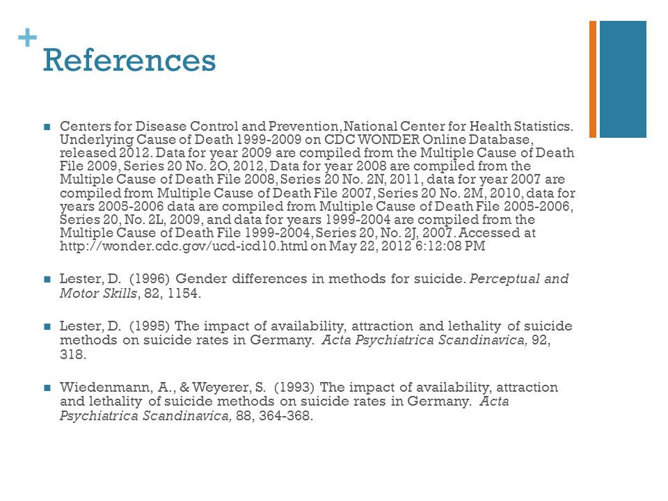+ References Centers for Disease Control and Prevention, National Center for Health Statistics.