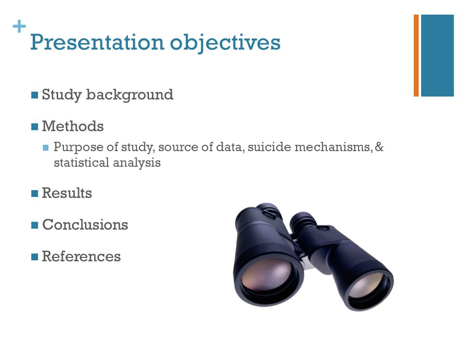 + Presentation objectives Study background Methods Purpose of study, source of data, suicide mechanisms, & statistical analysis Results Conclusions References