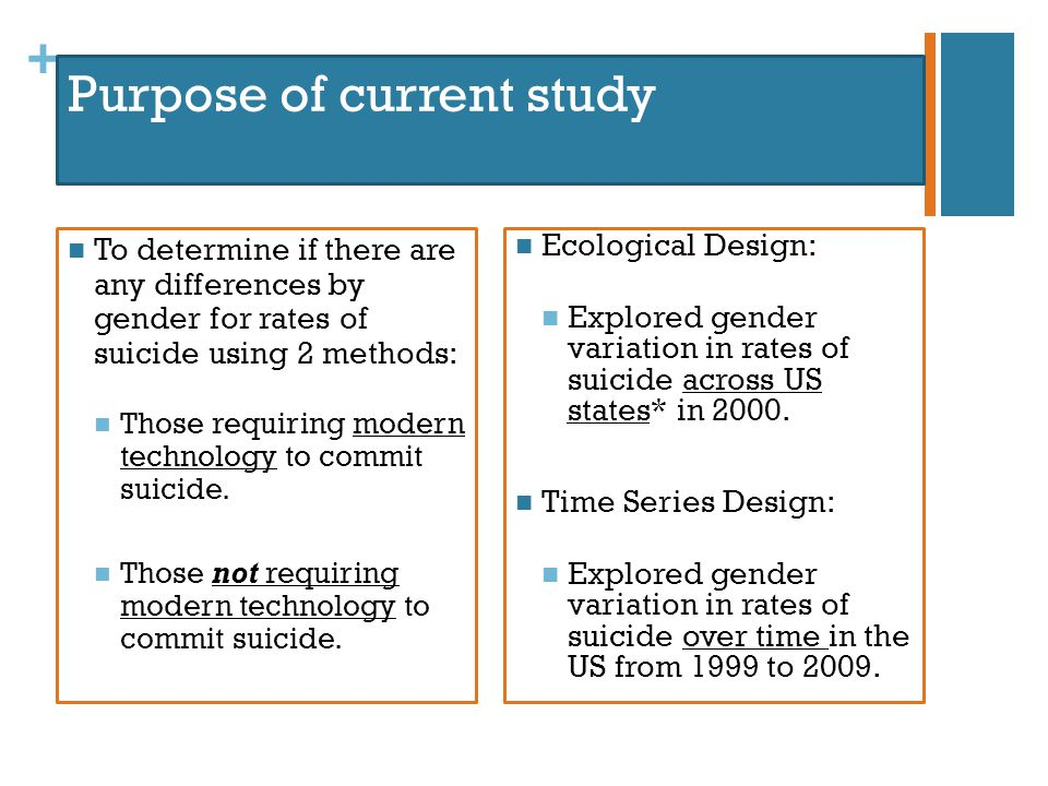 + Purpose of current study To determine if there are any differences by gender for rates of suicide using 2 methods: Those requiring modern technology to commit suicide.