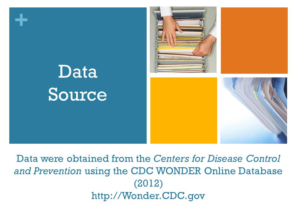 + Data were obtained from the Centers for Disease Control and Prevention using the CDC WONDER Online Database (2012) http://Wonder.CDC.gov Data Source