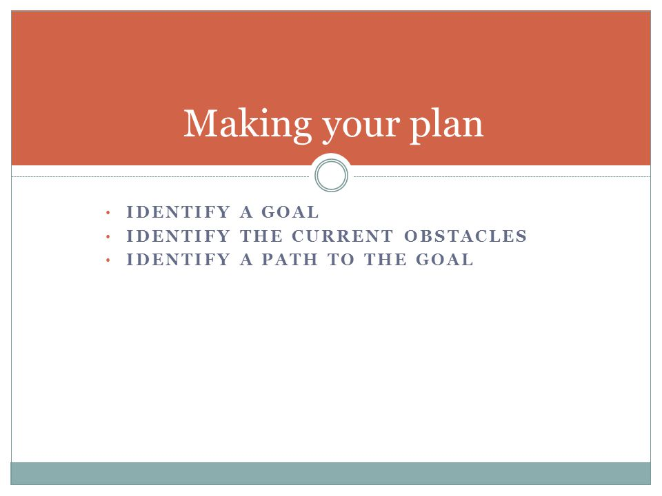 IDENTIFY A GOAL IDENTIFY THE CURRENT OBSTACLES IDENTIFY A PATH TO THE GOAL Making your plan