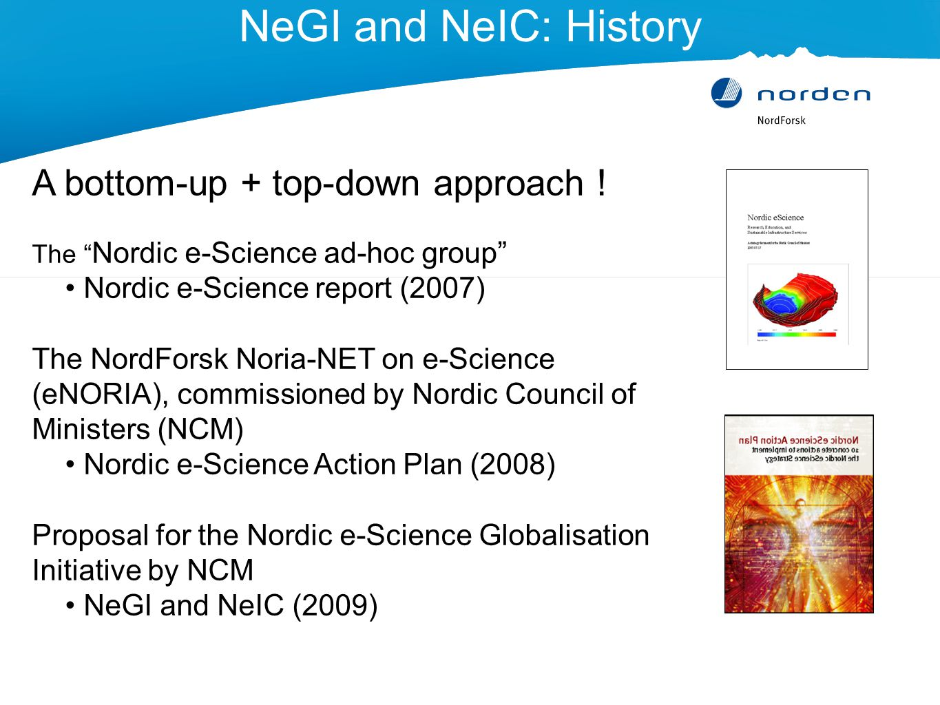 NeGI and NeIC: History A bottom-up + top-down approach .
