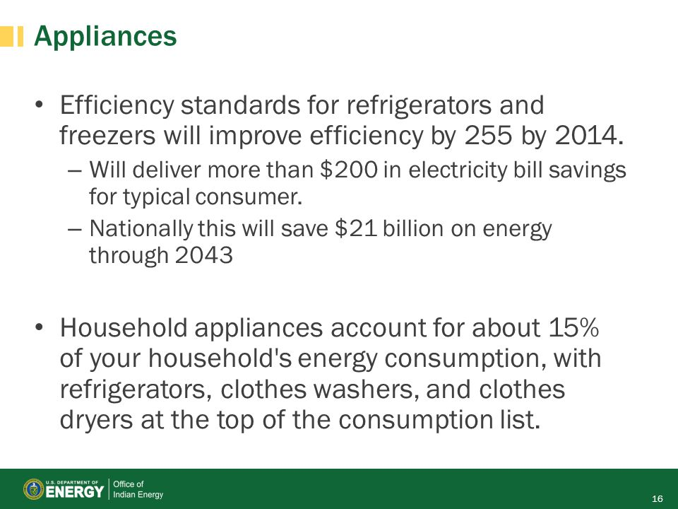 Appliances Efficiency standards for refrigerators and freezers will improve efficiency by 255 by 2014. – Will deliver more than $200 in electricity bi
