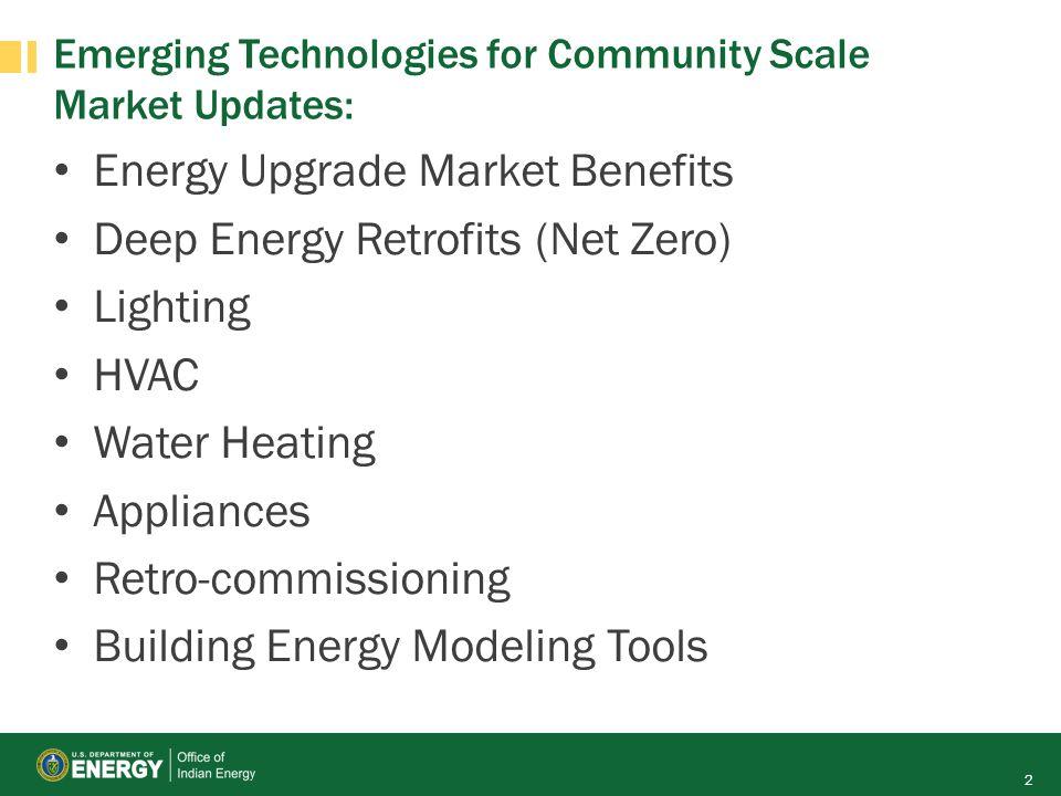 Emerging Technologies for Community Scale Market Updates: Energy Upgrade Market Benefits Deep Energy Retrofits (Net Zero) Lighting HVAC Water Heating