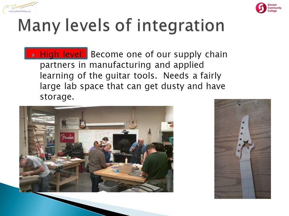  High level: Become one of our supply chain partners in manufacturing and applied learning of the guitar tools.