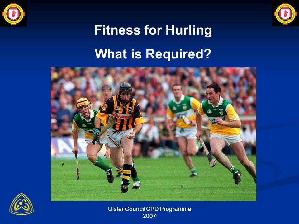 Ulster Council CPD Programme 2007 Cool-down Active aerobic recovery enhances lactate removal 50-65% VO2max in trained subjects (Hermansen & Stensfold, 1972)