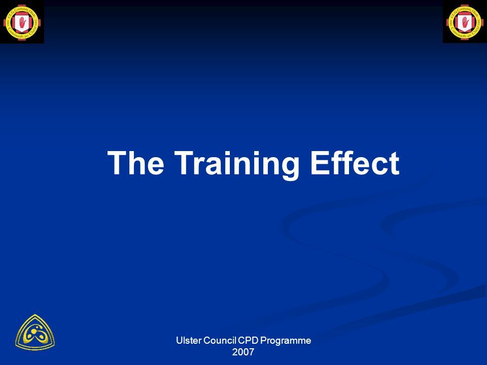 Ulster Council CPD Programme 2007 Endurance - Interval Training models Long intervals (Early Pre-season) 3-12 mins, 80-90% Hrmax, rest periods 1-4 mins, total time 20-50 mins, e.g (12+3), (6+2), (4+2) short intervals (Late Pre-season) 1-3 mins, 90-95% Hrmax, rest periods 20-60 sec, total time 15 -40 mins, e.g (3:00+3:00), (2:00+1:00), (1:30+30), (1:00+0:30) Short:short intervals (Competition Phase) 5-15secs, 95% HRmax, rest periods 5-15secs, total time 10-35 mins, e.g (15+15), (10+10), (5+10).