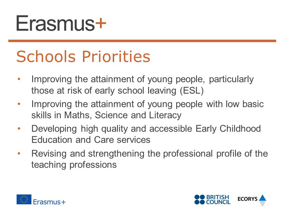 Schools Priorities Improving the attainment of young people, particularly those at risk of early school leaving (ESL) Improving the attainment of young people with low basic skills in Maths, Science and Literacy Developing high quality and accessible Early Childhood Education and Care services Revising and strengthening the professional profile of the teaching professions