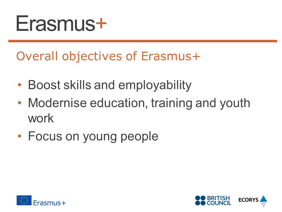 Overall objectives of Erasmus+ Boost skills and employability Modernise education, training and youth work Focus on young people
