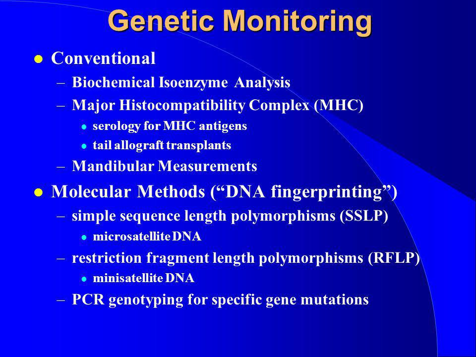 Genetic Monitoring l Conventional –Biochemical Isoenzyme Analysis –Major Histocompatibility Complex (MHC) l serology for MHC antigens l tail allograft transplants –Mandibular Measurements l Molecular Methods ( DNA fingerprinting ) –simple sequence length polymorphisms (SSLP) l microsatellite DNA –restriction fragment length polymorphisms (RFLP) l minisatellite DNA –PCR genotyping for specific gene mutations