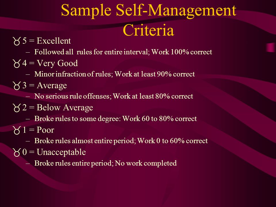SELF-MANAGEMENT PROGRAM  Initially incorporates external and internal evaluation but works toward complete self-monitoring and evaluation  Teacher a