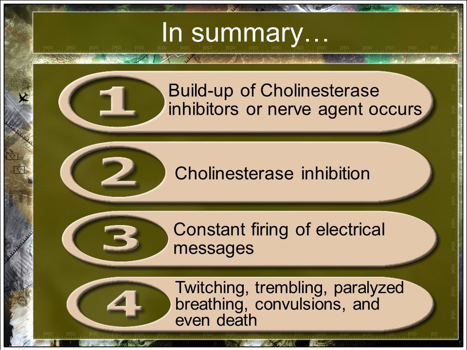In summary… Build-up of Cholinesterase inhibitors or nerve agent occurs Cholinesterase inhibition Constant firing of electrical messages Twitching, trembling, paralyzed breathing, convulsions, and even death