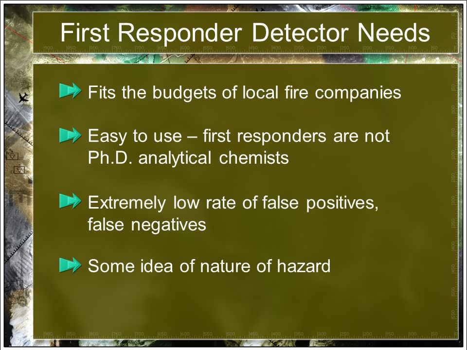 First Responder Detector Needs Fits the budgets of local fire companies Easy to use – first responders are not Ph.D.