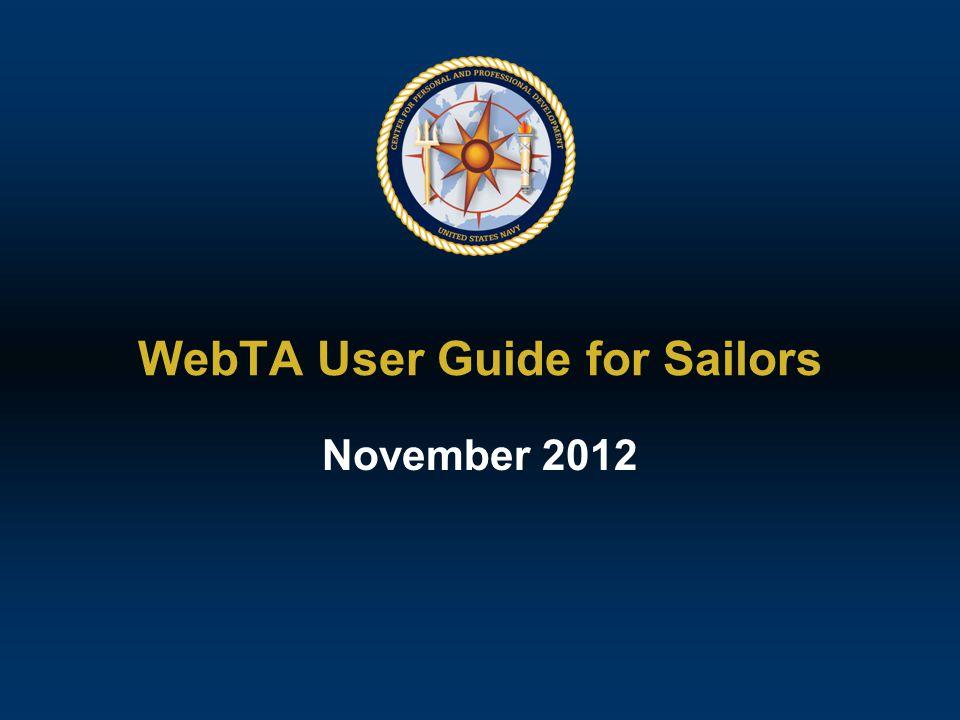 WebTA User Guide for Sailors November 2012