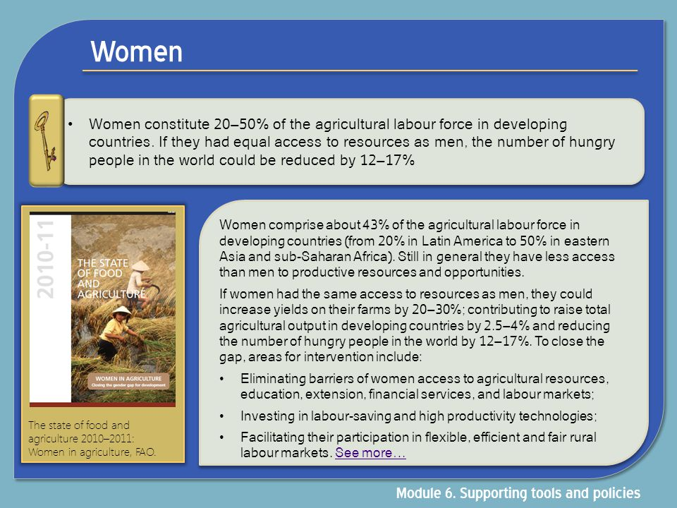 Women Women constitute 20–50% of the agricultural labour force in developing countries. If they had equal access to resources as men, the number of hu