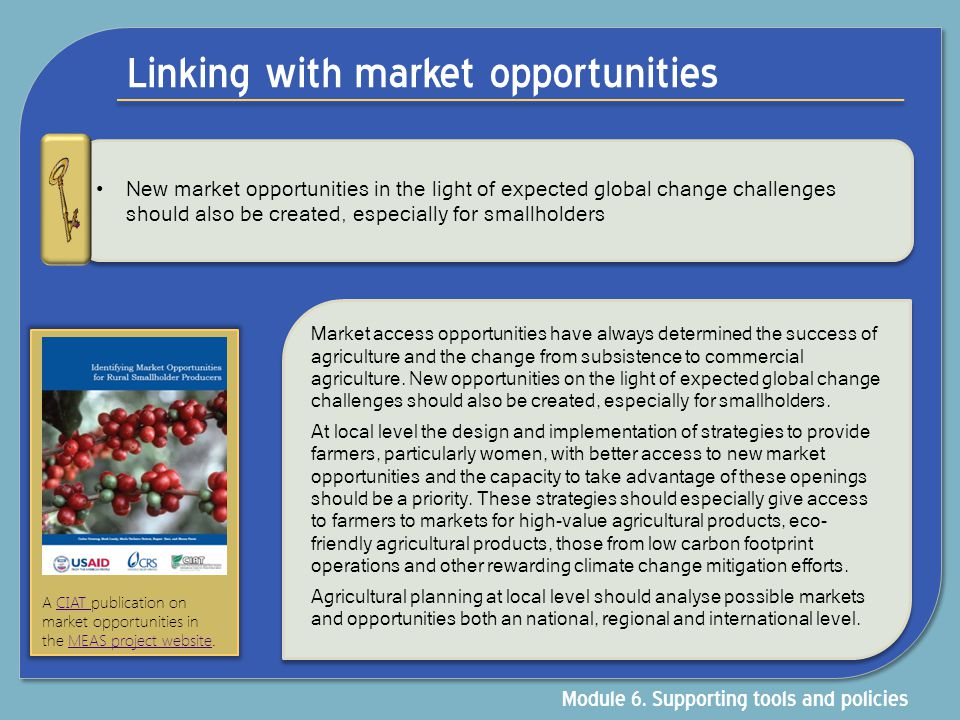 Linking with market opportunities New market opportunities in the light of expected global change challenges should also be created, especially for sm