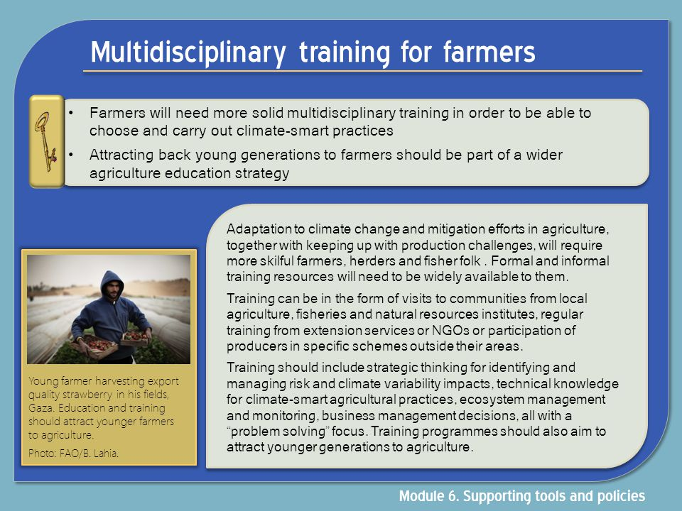 Multidisciplinary training for farmers Farmers will need more solid multidisciplinary training in order to be able to choose and carry out climate-sma