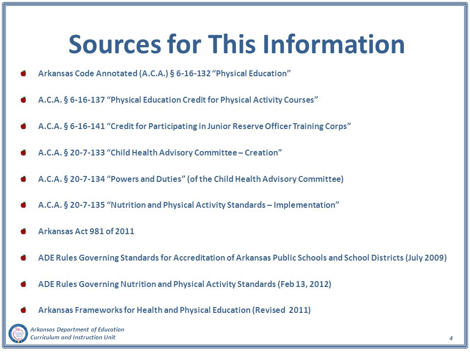 Arkansas Department of Education Curriculum and Instruction Unit 15 School Nutrition and Physical Activity Advisory Committee Activities Enforces existing P.E.