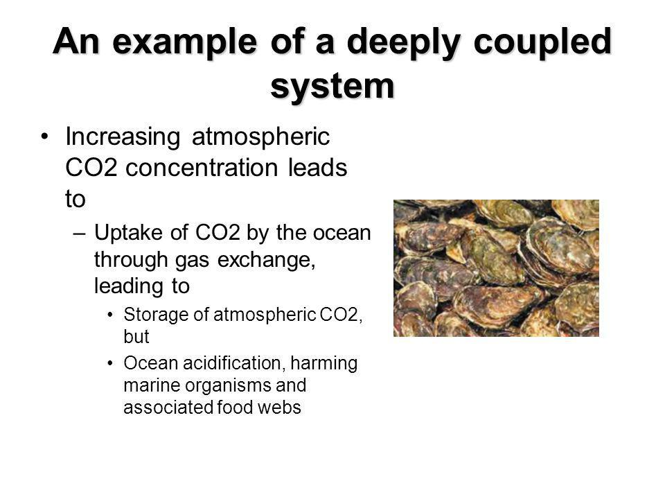 An example of a deeply coupled system Increasing atmospheric CO2 concentration leads to –Uptake of CO2 by the ocean through gas exchange, leading to Storage of atmospheric CO2, but Ocean acidification, harming marine organisms and associated food webs
