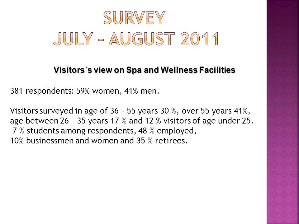 Visitors´s view on Spa and Wellness Facilities 381 respondents: 59% women, 41% men. Visitors surveyed in age of 36 – 55 years 30 %, over 55 years 41%,