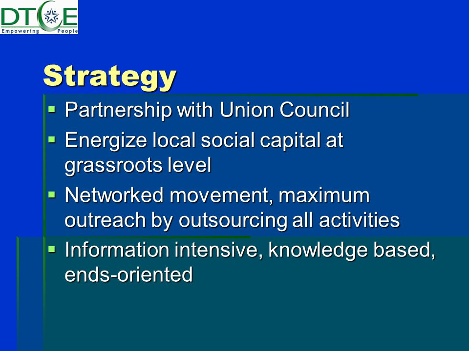Strategy  Partnership with Union Council  Energize local social capital at grassroots level  Networked movement, maximum outreach by outsourcing all activities  Information intensive, knowledge based, ends-oriented