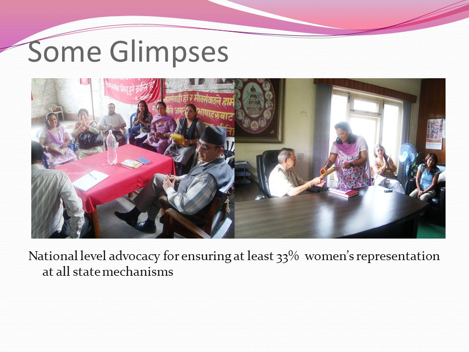 Some Glimpses National level advocacy for ensuring at least 33% women's representation at all state mechanisms
