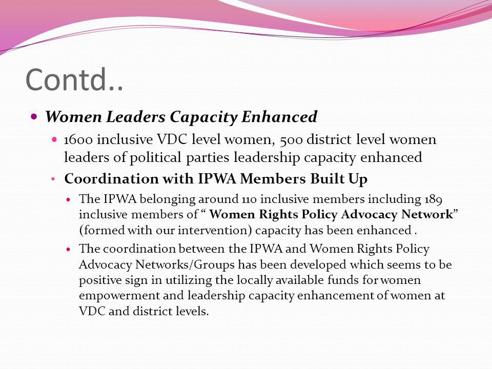 Contd.. Women Leaders Capacity Enhanced 1600 inclusive VDC level women, 500 district level women leaders of political parties leadership capacity enha