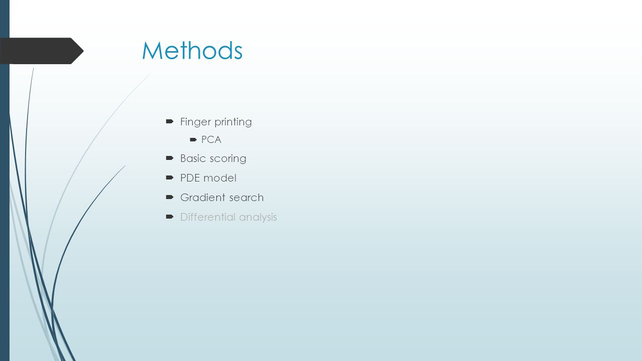 Methods  Finger printing  PCA  Basic scoring  PDE model  Gradient search  Differential analysis