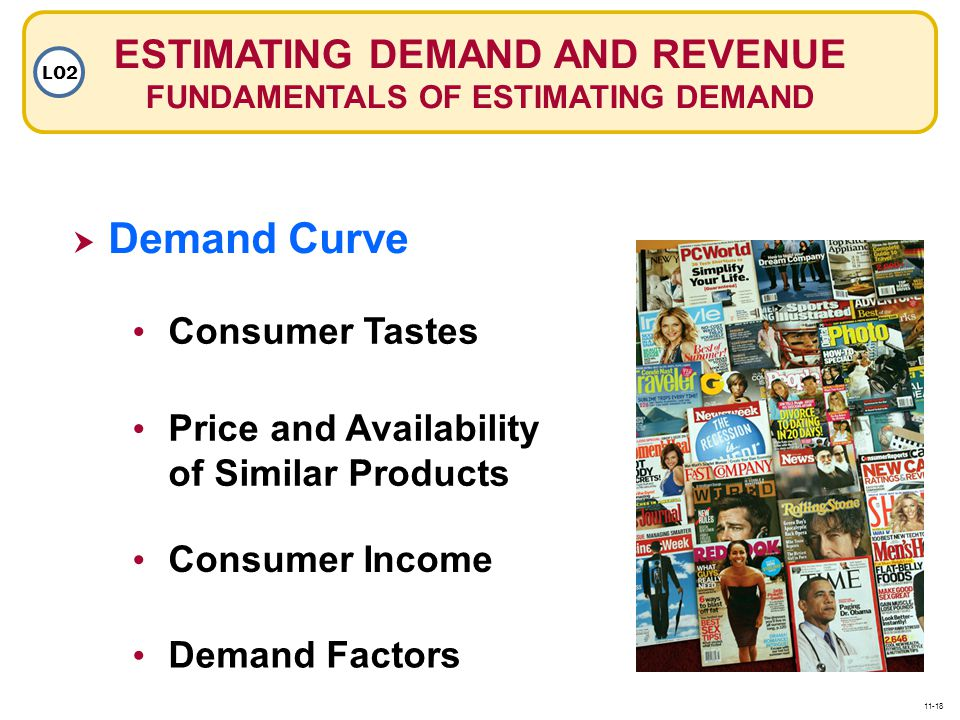 ESTIMATING DEMAND AND REVENUE FUNDAMENTALS OF ESTIMATING DEMAND LO2  Demand Curve Demand Curve Consumer Tastes Price and Availability of Similar Products Consumer Income Demand Factors 11-18