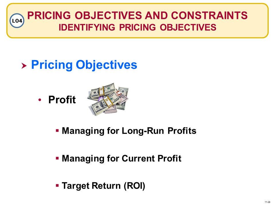 PRICING OBJECTIVES AND CONSTRAINTS IDENTIFYING PRICING OBJECTIVES LO4  Pricing Objectives Pricing Objectives Profit  Managing for Current Profit  Managing for Long-Run Profits  Target Return (ROI) 11-29