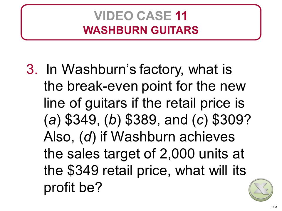 VIDEO CASE 11 WASHBURN GUITARS 3. In Washburn's factory, what is the break-even point for the new line of guitars if the retail price is (a) $349, (b)