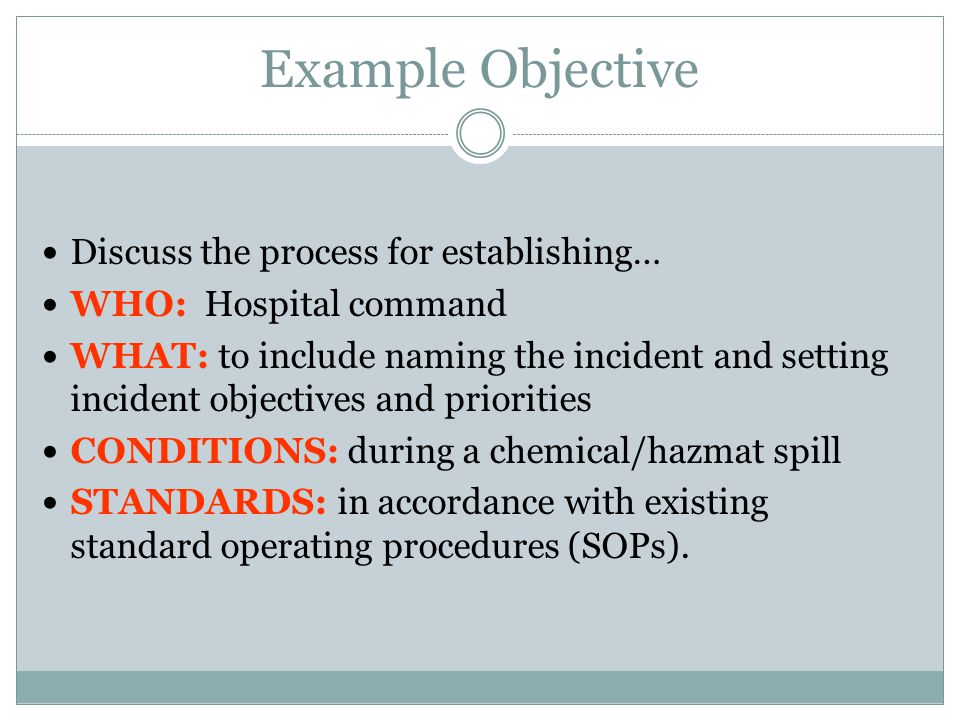 Example Objective Discuss the process for establishing… WHO: Hospital command WHAT: to include naming the incident and setting incident objectives and priorities CONDITIONS: during a chemical/hazmat spill STANDARDS: in accordance with existing standard operating procedures (SOPs).