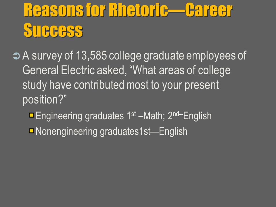 Reasons for Rhetoric—Career Success  A survey of 13,585 college graduate employees of General Electric asked, What areas of college study have contributed most to your present position Engineering graduates 1 st –Math; 2 nd-- English Nonengineering graduates1st—English