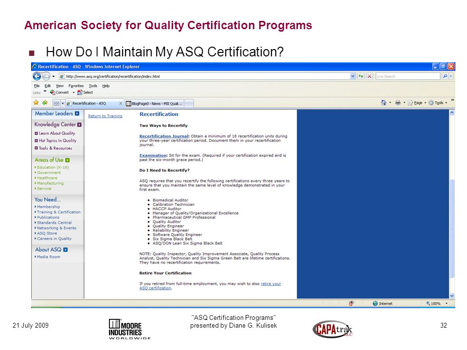 21 July 2009 ASQ Certification Programs presented by Diane G.