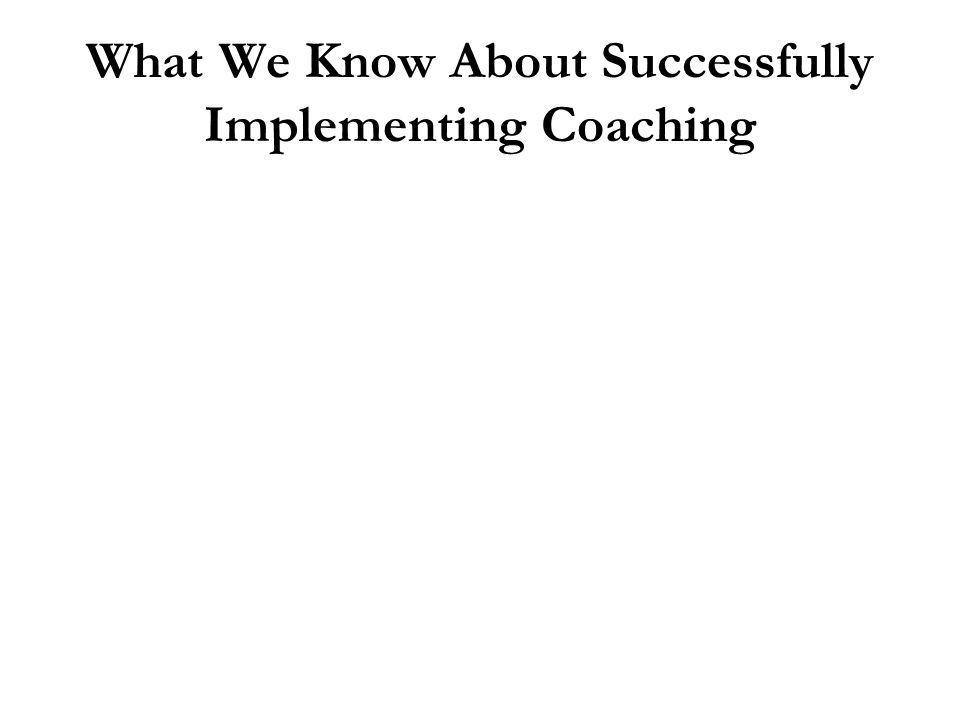 Instructional Coaching In small groups… Discuss what you know is needed to successfully implement coaching.
