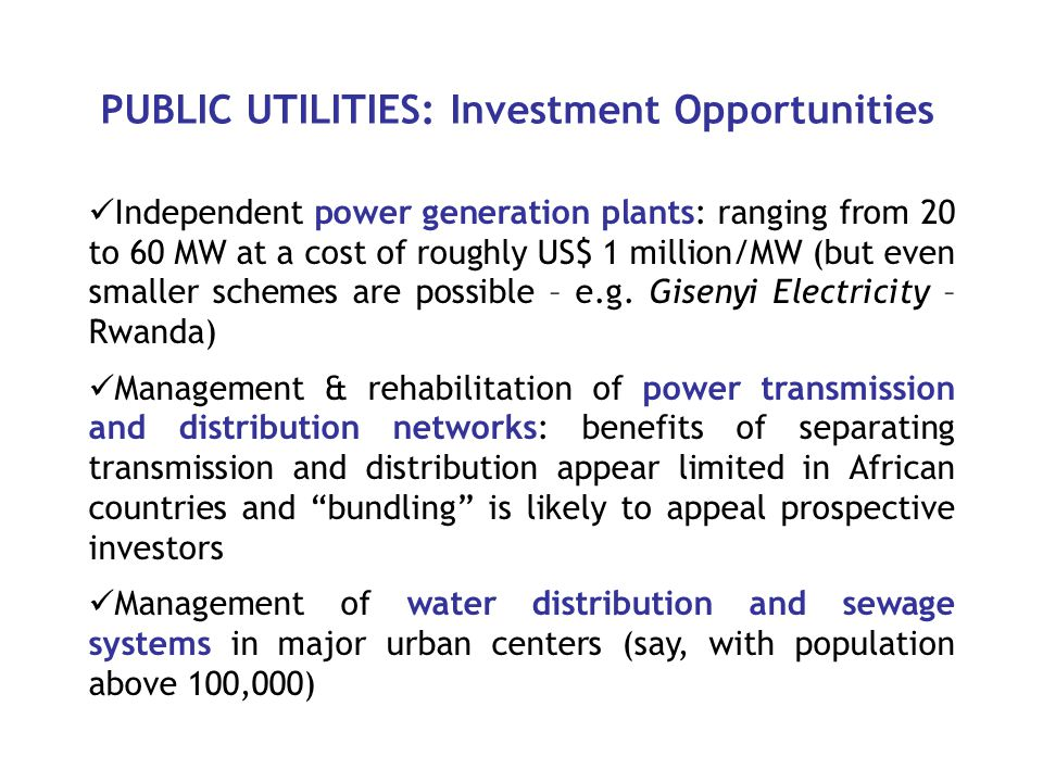 PUBLIC UTILITIES: Investment Opportunities Independent power generation plants: ranging from 20 to 60 MW at a cost of roughly US$ 1 million/MW (but even smaller schemes are possible – e.g.