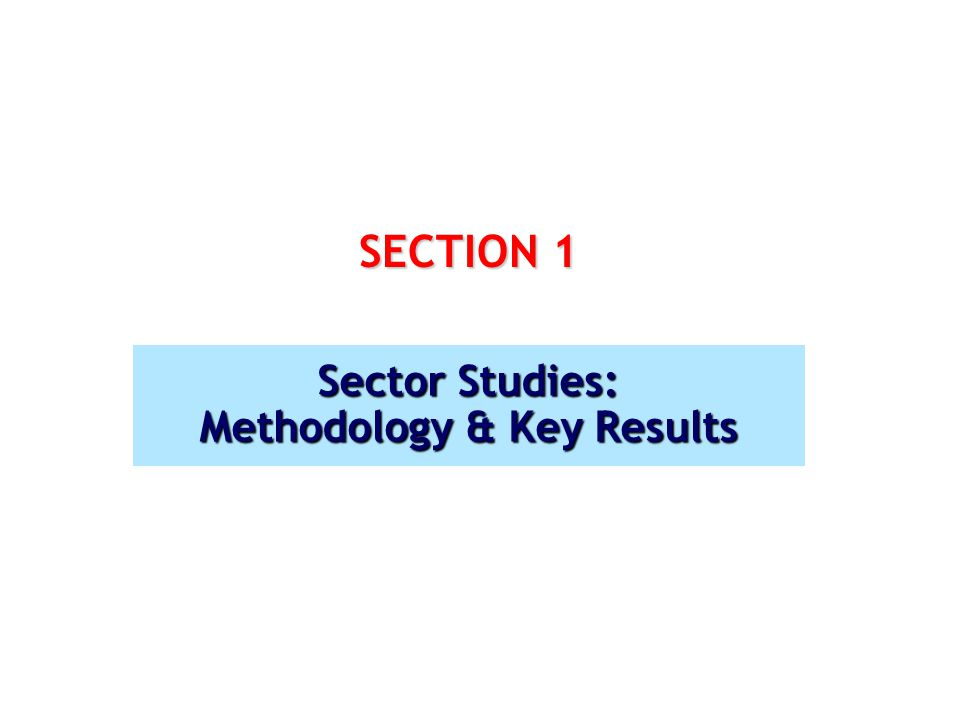 SECTION 1 Sector Studies: Methodology & Key Results