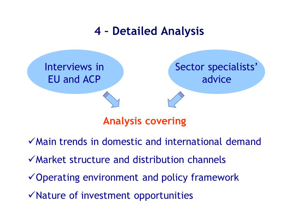 4 – Detailed Analysis Analysis covering Main trends in domestic and international demand Market structure and distribution channels Operating environment and policy framework Nature of investment opportunities Interviews in EU and ACP Sector specialists' advice