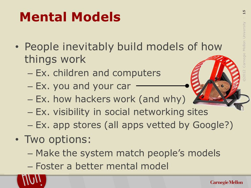 ©2012 Carnegie Mellon University : 15 Mental Models People inevitably build models of how things work – Ex.