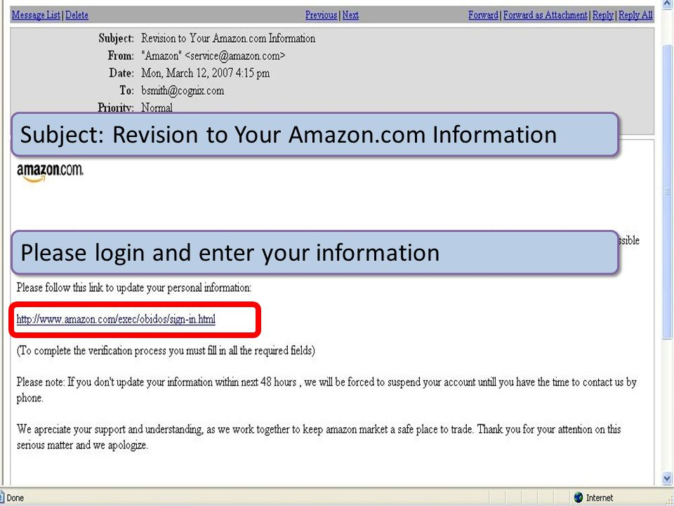 ©2012 Carnegie Mellon University : 23 Subject: Revision to Your Amazon.com Information Please login and enter your information