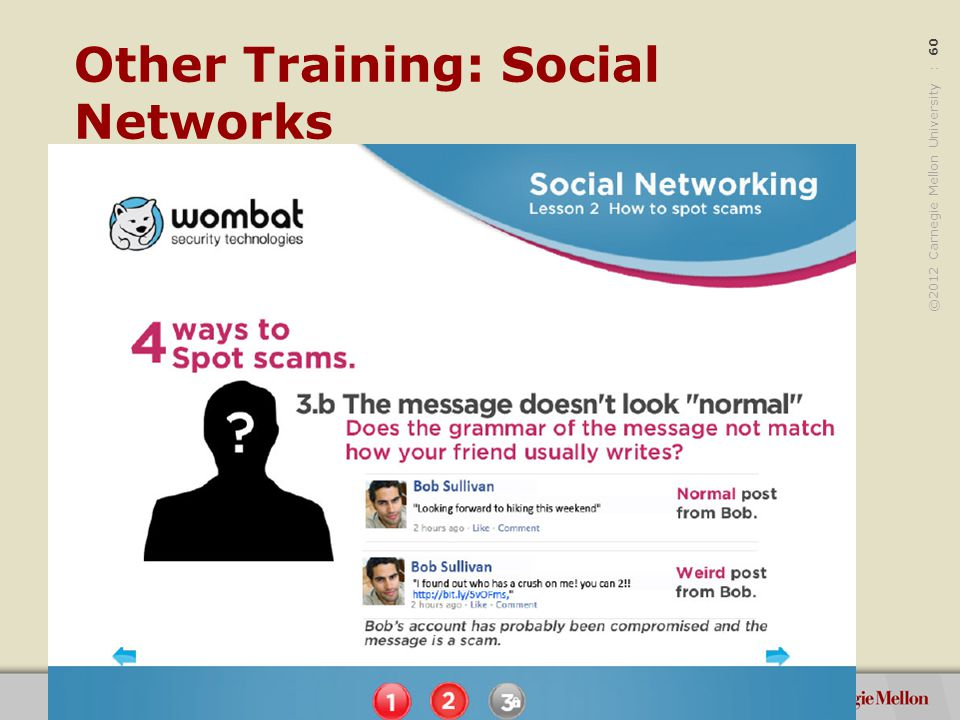 ©2012 Carnegie Mellon University : 60 Other Training: Social Networks