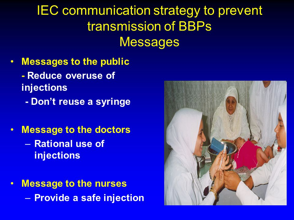 IEC communication strategy to prevent transmission of BBPs Messages Messages to the public - Reduce overuse of injections - Don't reuse a syringe Mess
