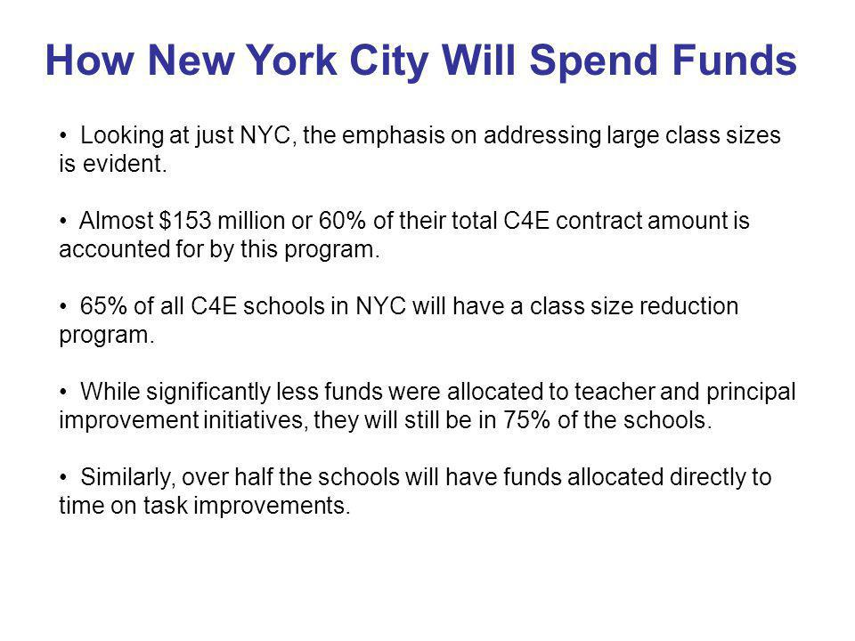 Looking at just NYC, the emphasis on addressing large class sizes is evident.