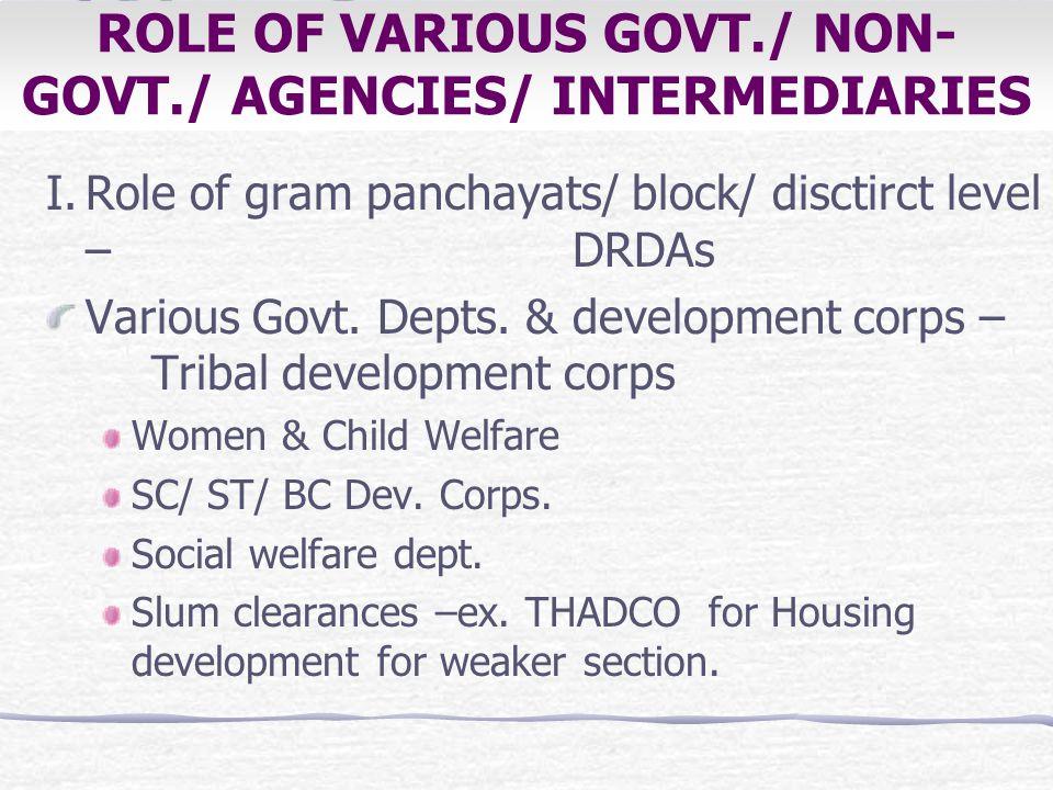 ROLE OF VARIOUS GOVT./ NON- GOVT./ AGENCIES/ INTERMEDIARIES I.Role of gram panchayats/ block/ disctirct level – DRDAs Various Govt. Depts. &developmen